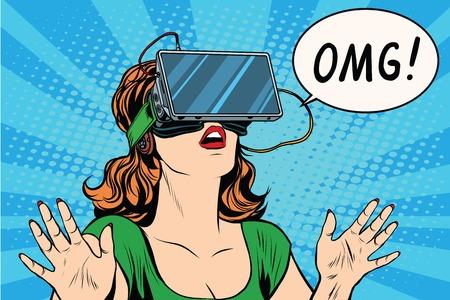 OMG emozioni da realtà virtuale retro ragazza pop art retrò vettore. Donna utilizzando l'auricolare realtà virtuale. vr occhiali ragazza Vettoriali