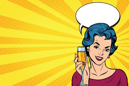 Toast meisje partij gele retro achtergrond pop art retro vector. Viering en feest. alcohol drinken