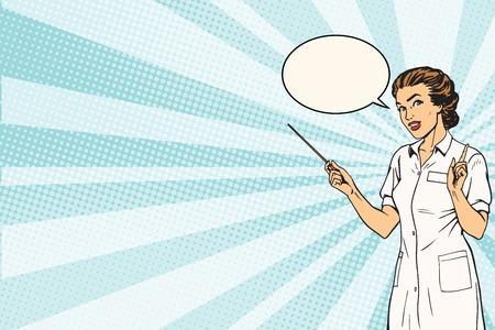 Vrouwelijke arts medische presentatie achtergrond pop art retro vector. Geneeskunde en medicijnen. Doctor professional Stock Illustratie