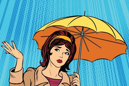 Beautiful sad girl in rain with umbrella, bad weather pop art retro vector. Umbrella rain vector. Retro girl in the fall. Thunderstorm and rain