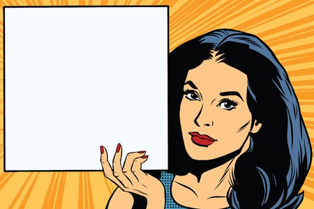Frau mit leeren Plakat Pop-Art Retro-Vektor. Platz Plakat. Retro-Vektor-Werbung und Ankündigung