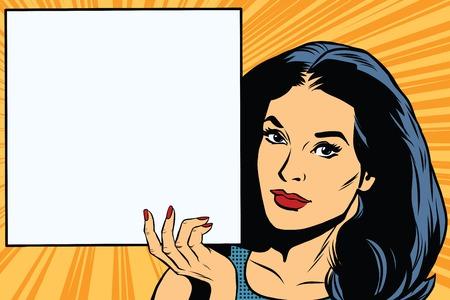 Mujer que sostiene el cartel en blanco retro del arte pop del vector. cartel cuadrado. la publicidad y el anuncio retro del vector