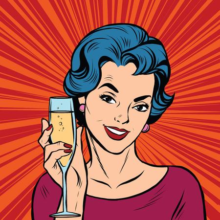 Toast dívka večírek červenými retro pozadí pop art retro vektor. Narozeniny a výročí. Alkoholický nápoj. Vector toast Ilustrace