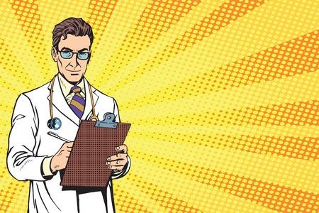 Médico del arte pop retro de vector. Retrato de un seguro médico maduro. Médico con un estetoscopio. Sin pasar por médico, el diagnóstico