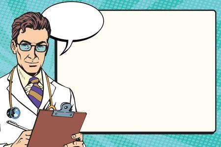 Gesundheit Hintergrund Vektor-Pop-Art Retro-Vektor-Medizin Arzt. Die Ärzteschaft