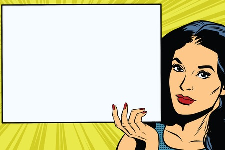 Brunette girl holding a blank rectangular poster pop art retro vector. Advertising and announcement retro pop art