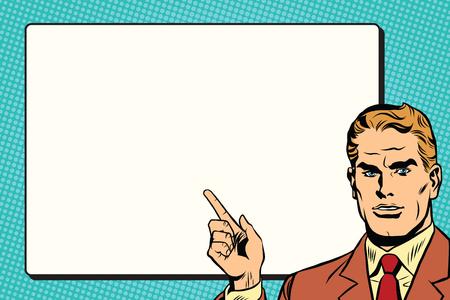 cut away: The man points to a white background sheet retro pop art pop art retro vector