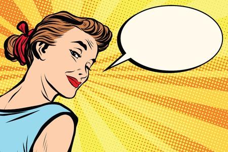 아름 다운 레트로 소녀 팝 아트 복고풍 벡터 묻습니다. 여자가 의사 소통을합니다. 만화 텍스트 풍선 일러스트