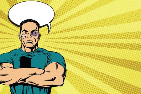 artes marciales mixtas: Hombre fuerte después de un vector de arte retro lucha pop. Las contusiones y abrasiones. masculina boxeador. Combatiente deporte de artes marciales mixtas