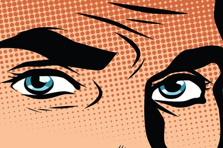 close: Retro male blue eyes pop art pop art retro vector. Look man illustration. Blue eye color retro vector Illustration
