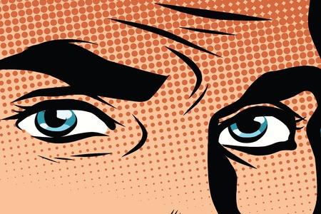 Retro yeux bleus masculins pop art pop art rétro vecteur. Regardez l'homme illustration. la couleur des yeux bleu rétro vecteur