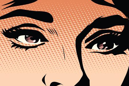 brown eyes: Brown eyes retro woman pop art pop art retro vector. Makeup and cosmetics. Look retro woman. Brown eyes illustration