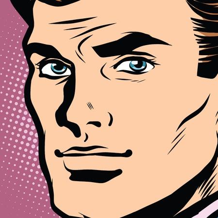 male face: Male face profile close-up pop art retro vector. Face businessman retro vector. The head of a man Illustration