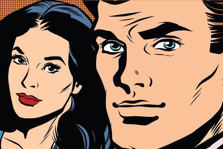 Mooi paar man en vrouw pop art retro vector. Close-up gezicht man meisje. Pop art retro heren
