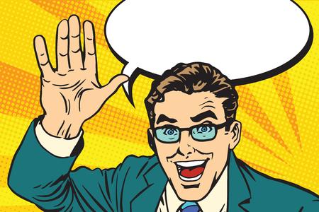 mains donnant un maximum de cinq pour le grand art rétro travail vecteur pop. affaires Joyful. Bon concept de travail