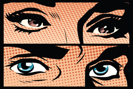 woman male: Male and female eyes close-up pop art retro vector. Look man and woman. Blue and brown eyes Illustration