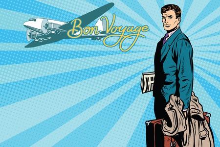 reise retro: Männlich Passagier Reisende im Flughafen-Pop-Art Retro-Vektor. Lufttransport. Tourismus und Reisen Retro-Vektor. Retro Flugzeug