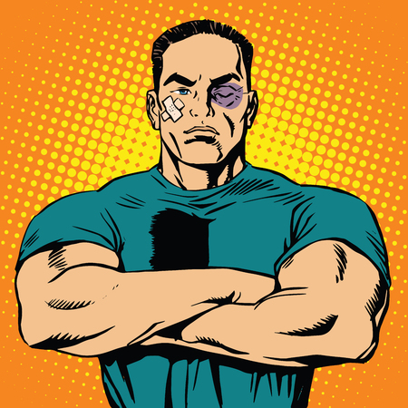 Strong man after a fight pop art retro vector. The bruises and abrasions. Boxer male. Fighter mixed martial arts sport