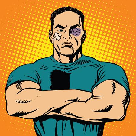 hombre fuerte: Hombre fuerte después de un vector de arte retro lucha pop. Las contusiones y abrasiones. masculina boxeador. Combatiente deporte de artes marciales mixtas