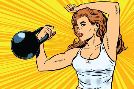 무게와 강한 여자 운동 선수 팝 아트 복고풍 벡터. 체육 및 운동. 스윙 근육. 여자 운동 선수 복고풍 벡터입니다. 소녀 운동 선수. 여성의 힘