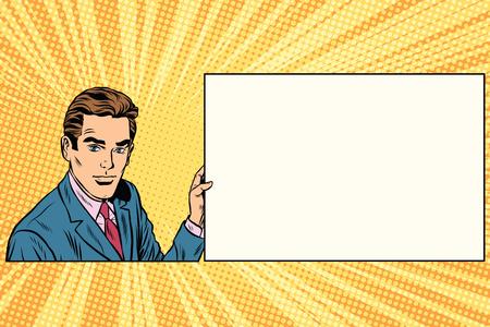 announcement message: Pop art businessman with frame for text pop art retro vector. Advertising announcement message. Retro business Stock Photo