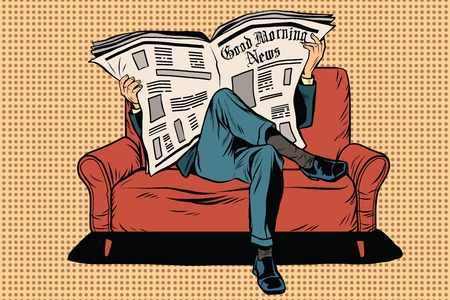 The morning paper reads man pop art retro vector. Businessman on the couch. Morning press. News and politics 일러스트
