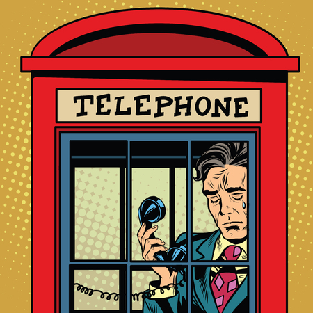 Retro man crying in a phone booth pop art retro vector. The love and emotions. Talking on the phone. Retro phone. Red telephone booth vector Illustration