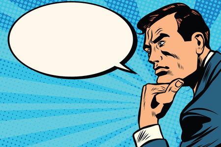 a thinker: Thinker profile comic bubble pop art retro vector. Retro man thinks. Businessman idea