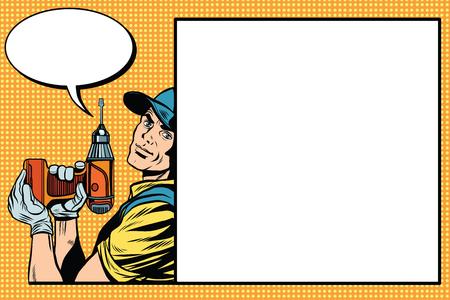 herramientas de trabajo: reparador maestro de sexo masculino con un vector de arte retro del taladro del pop. Construcción y reparación. El fondo industrial. Retro maestro del arte pop. Profesión Vectores
