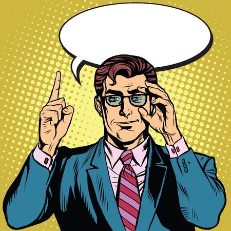 レトロなビジネスマンは、ポップアート レトロなベクトルを言います。漫画バブル本文