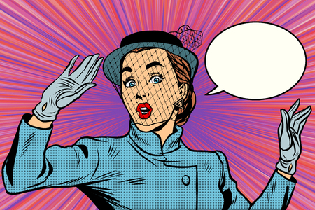 fear: Surprised retro lady pop art retro vector. the veil on the face. Stylish beautiful woman emotion fear