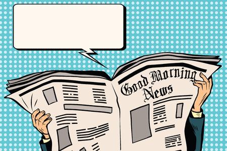 reading newspaper: Press newspaper read news pop art retro vector.