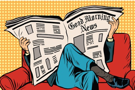 subscriber: The morning paper reads man pop art retro vector. Businessman on the couch. Morning press. News and politics Illustration