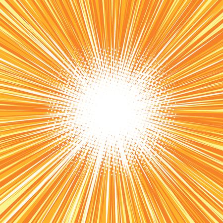 明るいバースト背景レトロ コミック ポップ アート ポップアートのレトロなベクトル。太陽の光の輝き。バーストのベクトルの背景