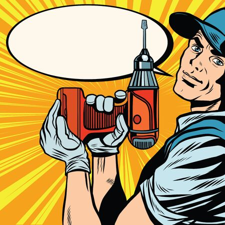 builder: Male master repairman with a drill pop art retro vector. Building and repair. The industrial background. Retro pop art master. Profession Stock Photo