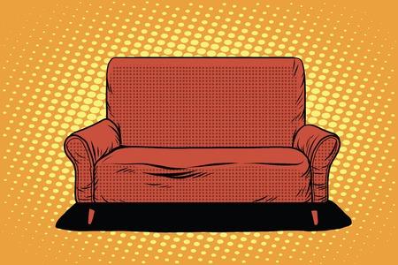 retro furniture: Red sofa then pop art retro vector. Furniture seat interior. Retro furniture