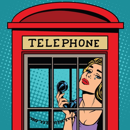 girl crying in the red telephone booth retro pop art retro vector. English red telephone booth vector. Telephone and communications. The emotions of the girl sadness