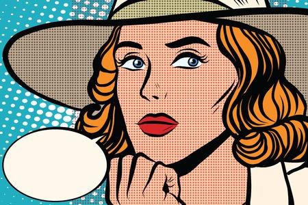 レトロな女性では、クローズ アップの pop アート レトロなベクトルと考えています。ポップアート レトロな人々。つば広の帽子でかわいい女の子。レトロつば広の帽子 写真素材 - 57231420