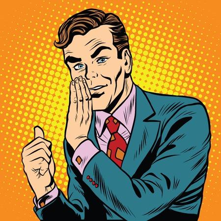 Retro man toont een geheime pop art retro vector. reclame-promotie-aankondiging. Om je een geheim vertellen. Mysterie Stockfoto