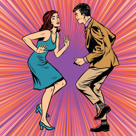 Retro man and woman dancing pop art pop art retro vector. Disco dance vector. couple dancing Фото со стока - 57231423