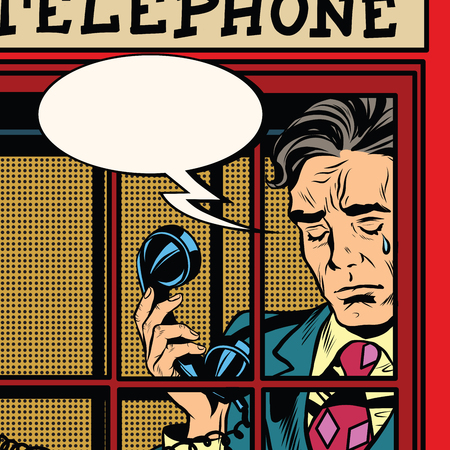 Retro man crying in the red phone booth pop art retro vector. Close-up face. Emotions tears Stockfoto