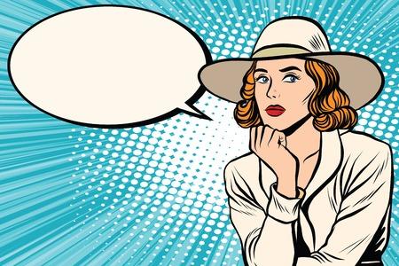 thoughtfulness: Retro lady thinks pop art retro vector. Pop art retro people. Pretty girl in wide-brimmed hat. Retro wide-brimmed hat