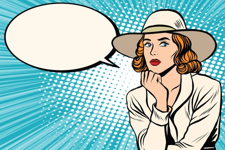 Retro lady thinks pop art retro vector. Pop art retro people. Pretty girl in wide-brimmed hat. Retro wide-brimmed hat