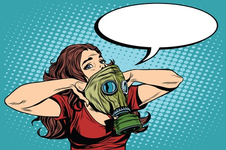 army gas mask: Civil defence girl wears a protective mask pop art retro vector. Nuclear war gas attack. Radiation safety. Gas mask vector