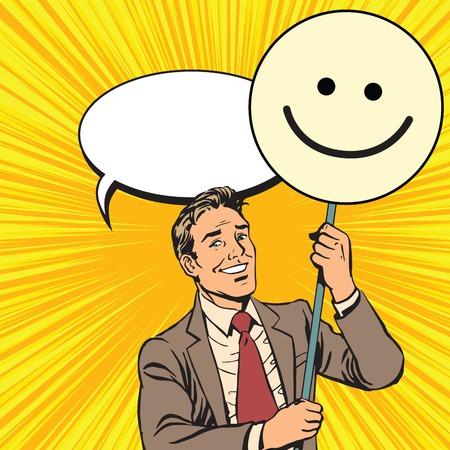 poster art: Protester with a poster Emoji smiley pop art retro vector. Smile joy positive. Political support