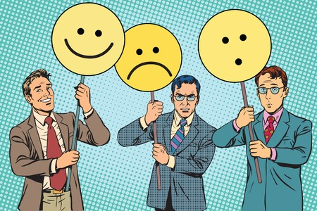 politician: Protesters with placards Emoji joy sadness surprise pop art retro vector. Political protest. Emoji political poster Illustration