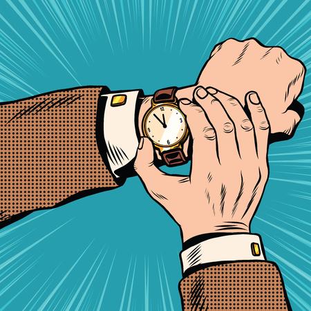 Tiempo: reloj de pulsera retro del arte pop retro del arte pop del vector. Que hora es. reloj retro con las manos y de línea