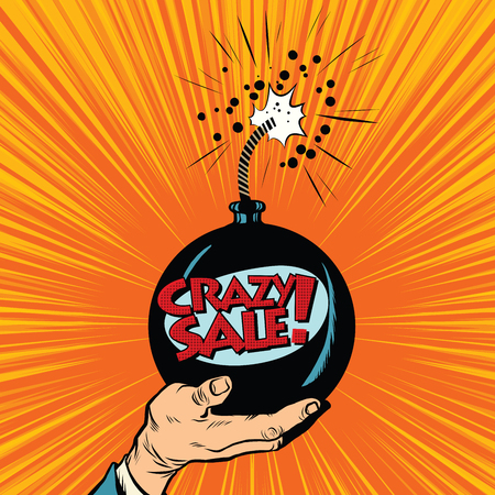 bomb price: News bomb crazy sale pop art retro vector. Business concept of sale and purchase. Shopping