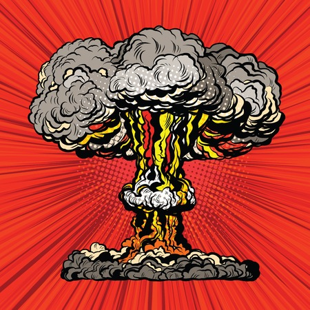 extermination: Nuclear explosion radioactive mushroom pop art retro vector. Nuclear war. Hydrogen bomb Illustration
