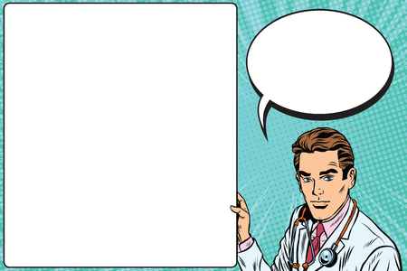 Doctor announcement poster medicine health pop art retro vector. Profession doctor. Therapist vector stethoscope doctor.